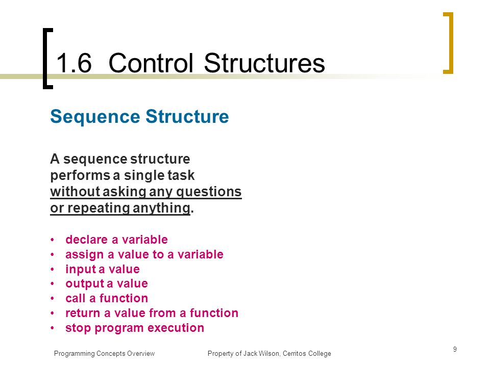 1.6 Control Structures Sequence Structure
