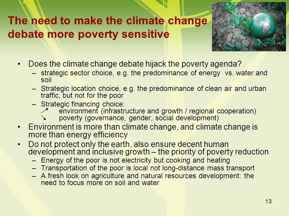 The need to make the climate change debate more poverty sensitive