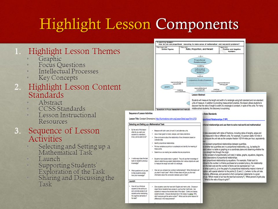 Highlight Lesson Components