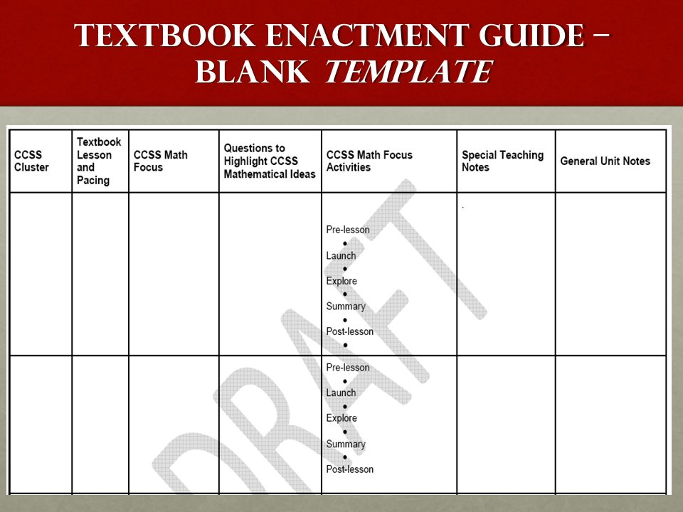 Textbook Enactment Guide – Blank Template
