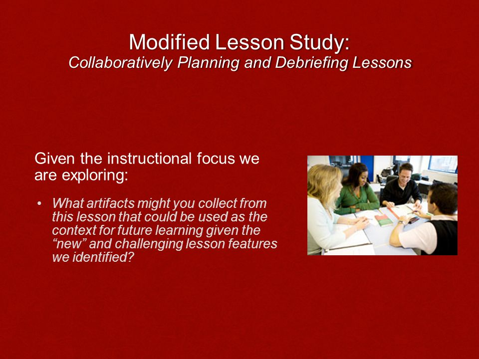 Modified Lesson Study: Collaboratively Planning and Debriefing Lessons