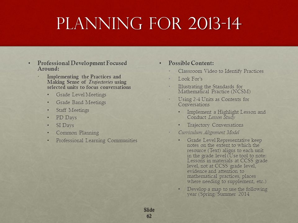 Planning for 2013-14 Professional Development Focused Around: