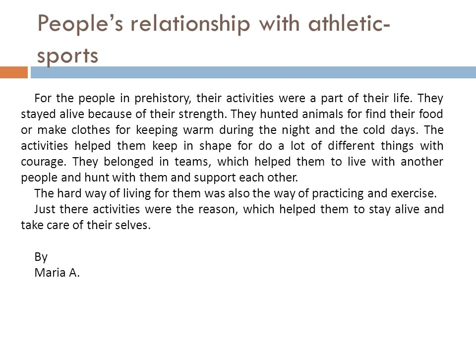 People's relationship with athletic-sports