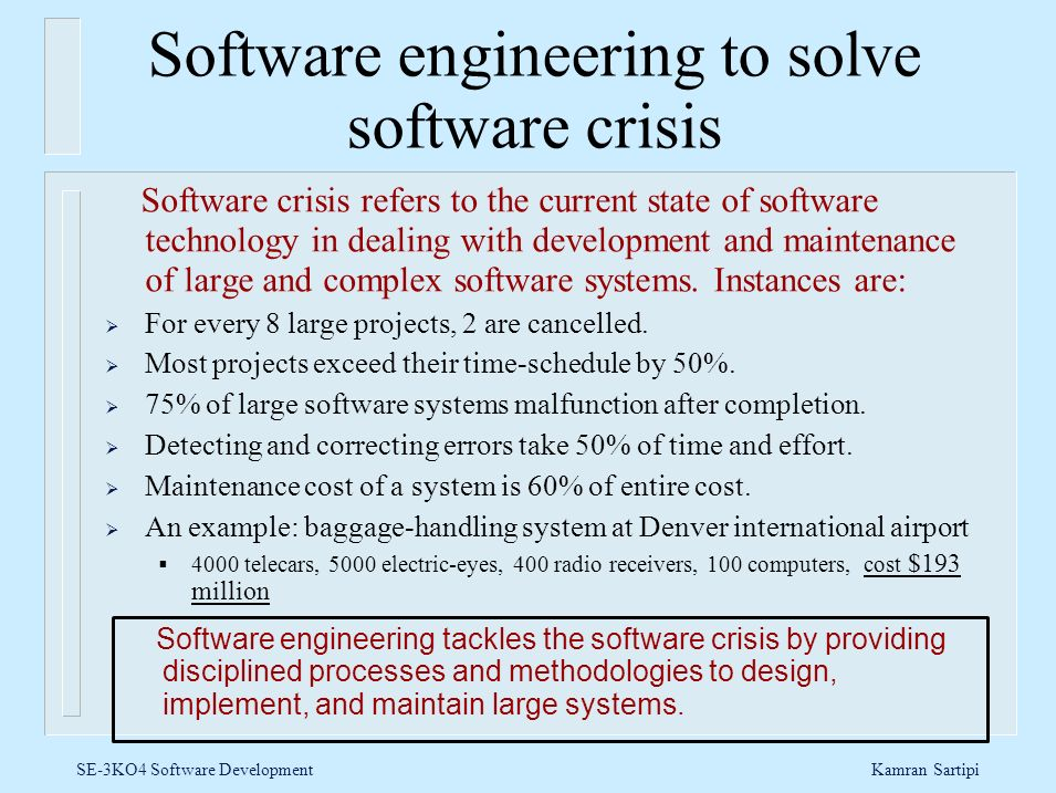 Software engineering to solve software crisis