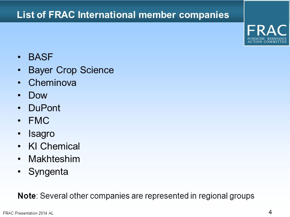 Fungicide Resistance Action Committee FRAC founded in ppt