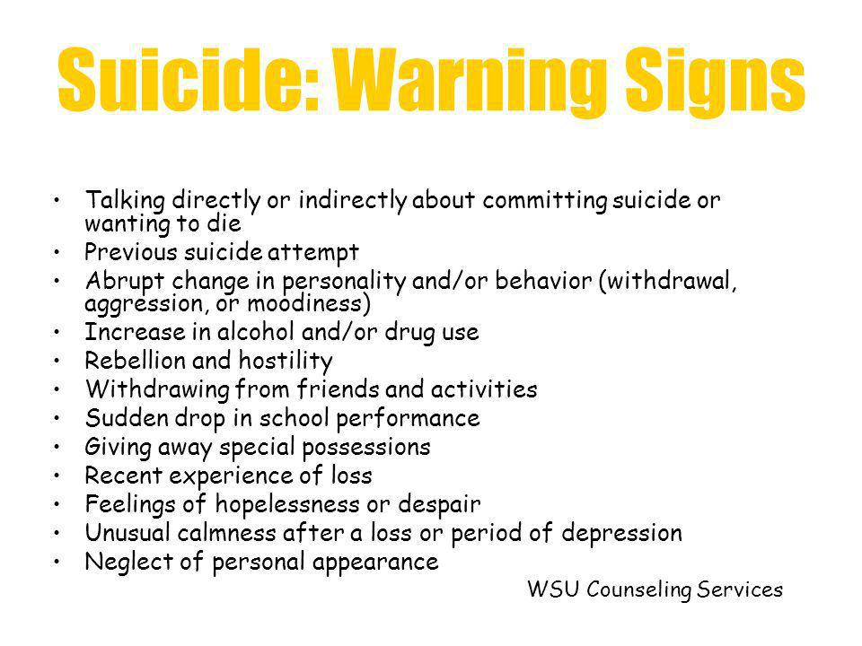 Suicide: Warning Signs