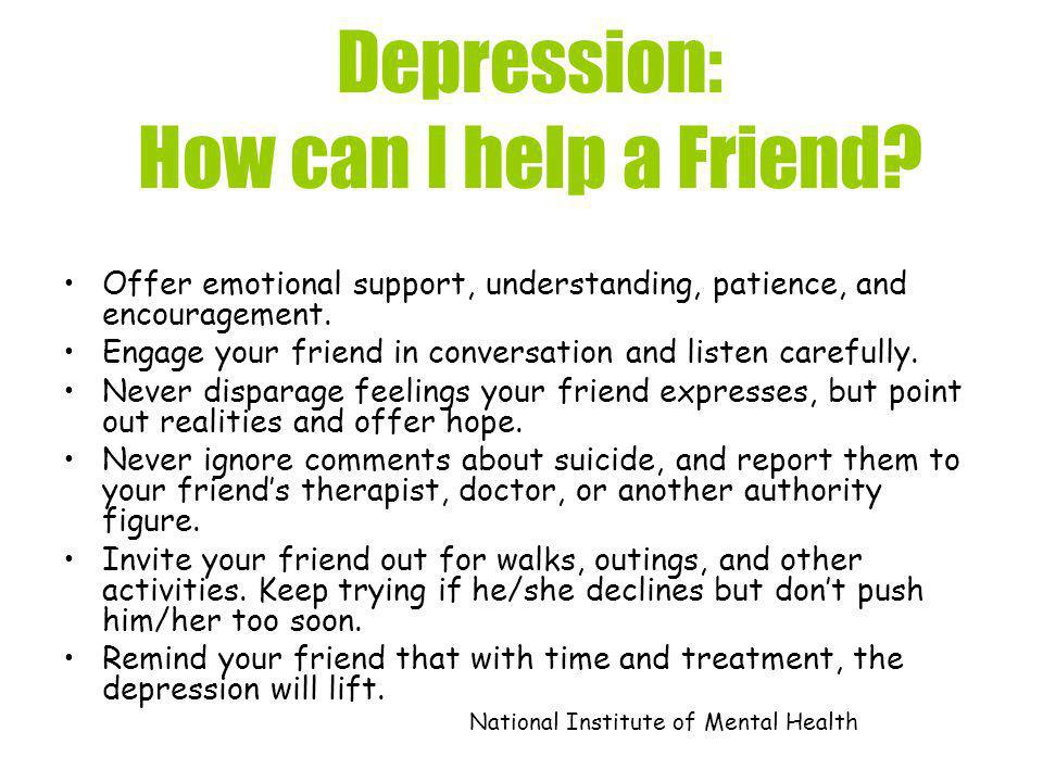 Depression: How can I help a Friend