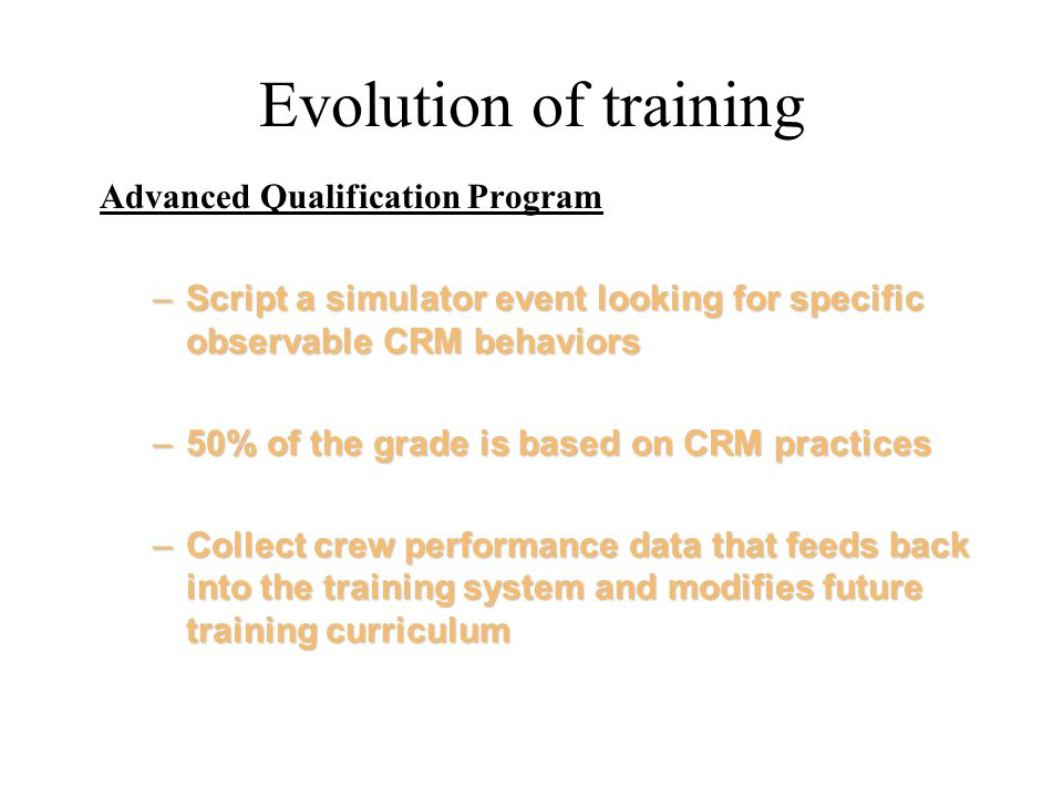 Evolution of training Advanced Qualification Program