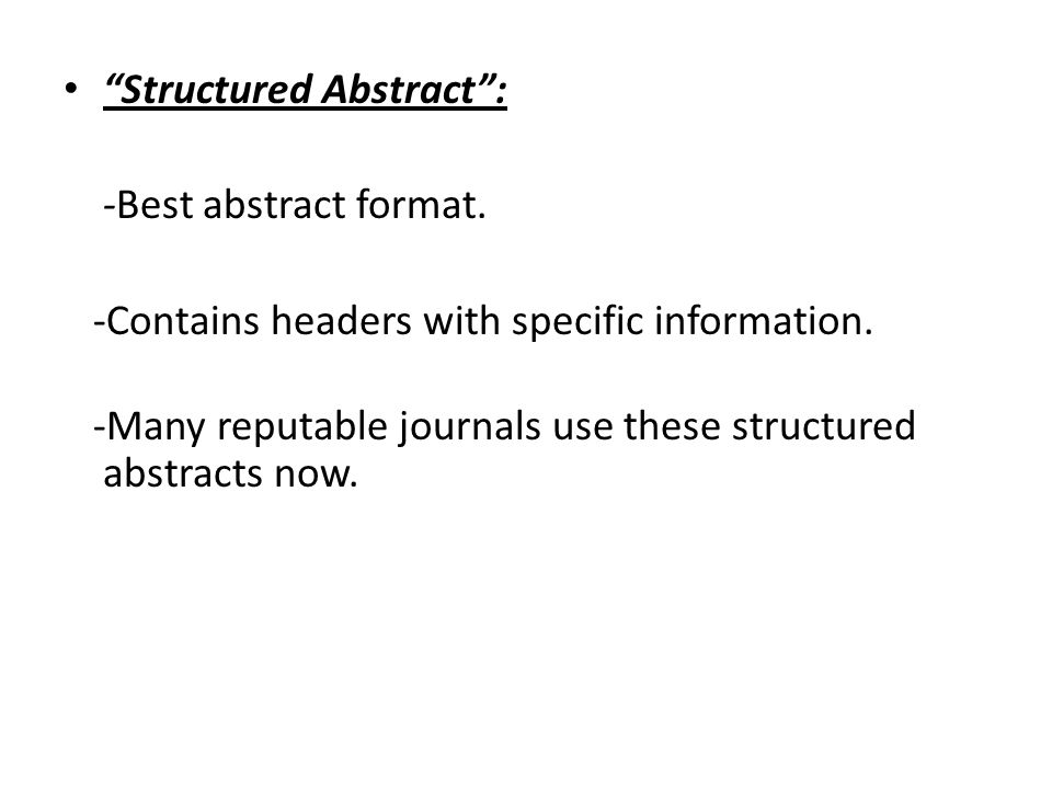 structured abstract format