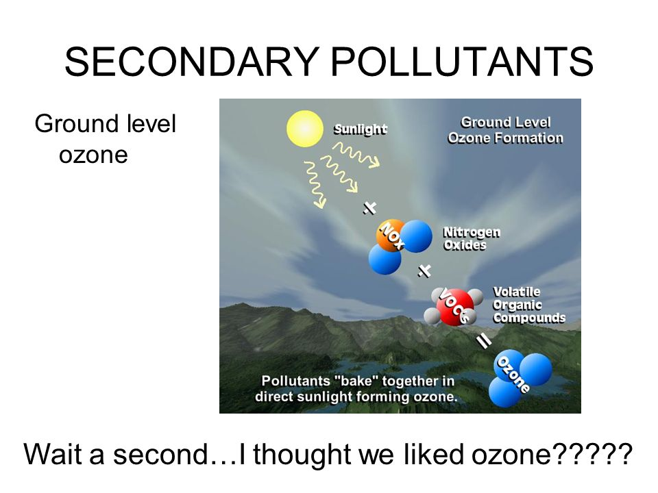 SECONDARY POLLUTANTS Wait a second…I thought we liked ozone