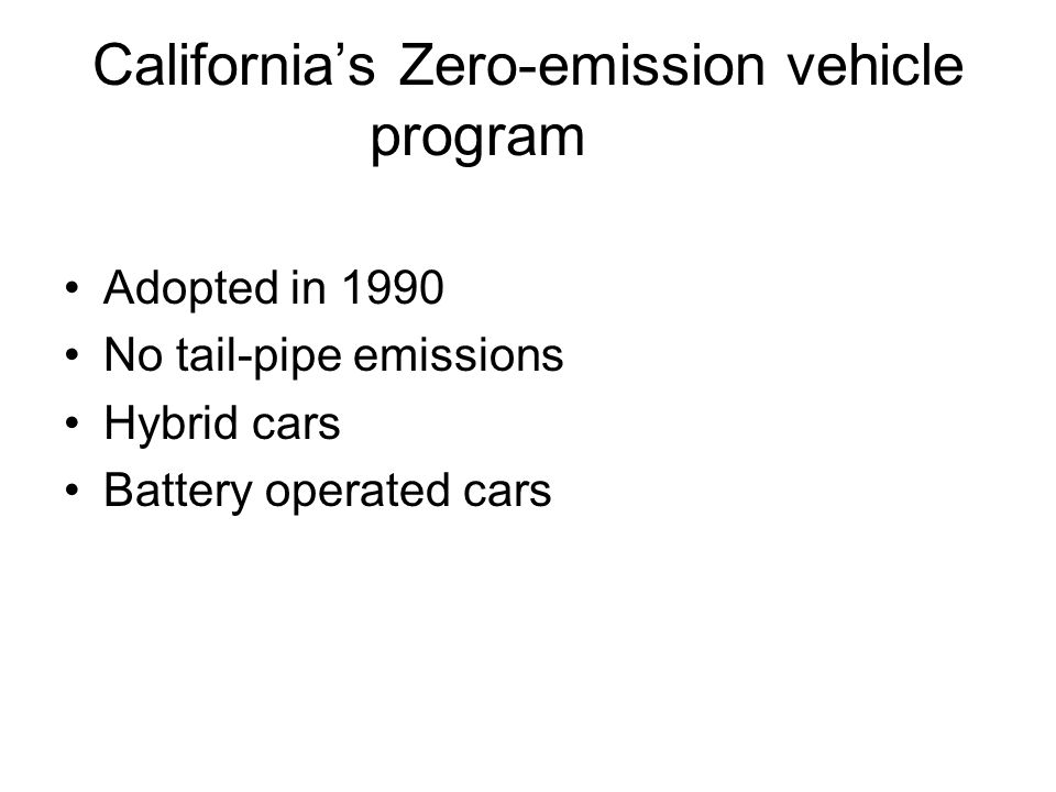 California's Zero-emission vehicle program