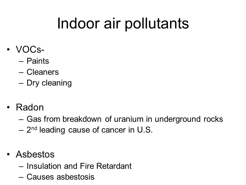 Indoor air pollutants VOCs- Radon Asbestos Paints Cleaners