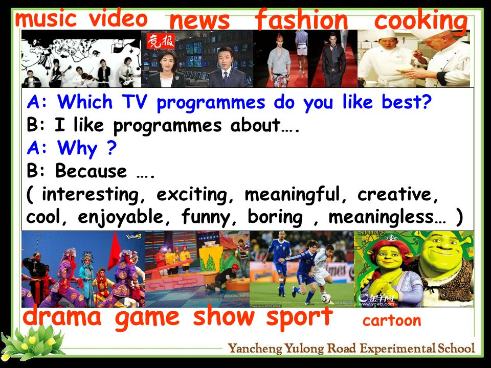 news fashion cooking drama game show sport music video
