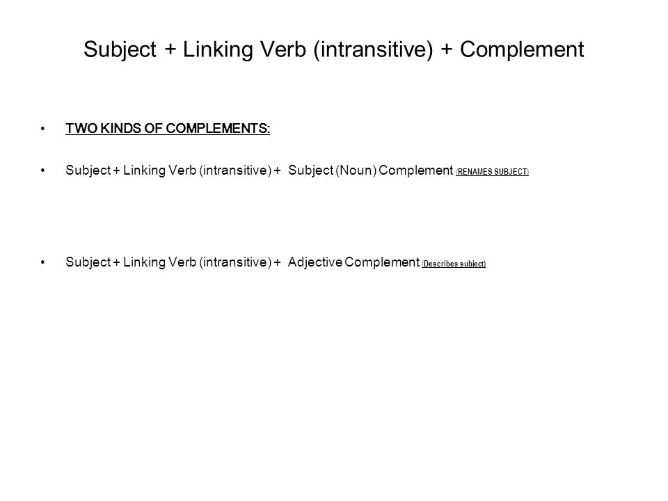 Subject + Linking Verb (intransitive) + Complement