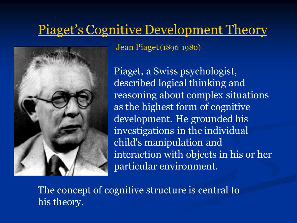 piagets cognitive development theory wafa nurdin essay Cognitive development theory has four distinct stages piaget's stage theory of cognitive development is a description of cognitive development as four distinct stages in children: sensorimotor, preoperational, concrete, and formal.