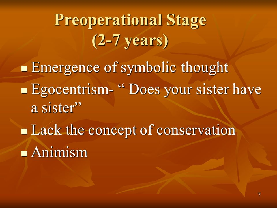 Preoperational Stage (2-7 years)