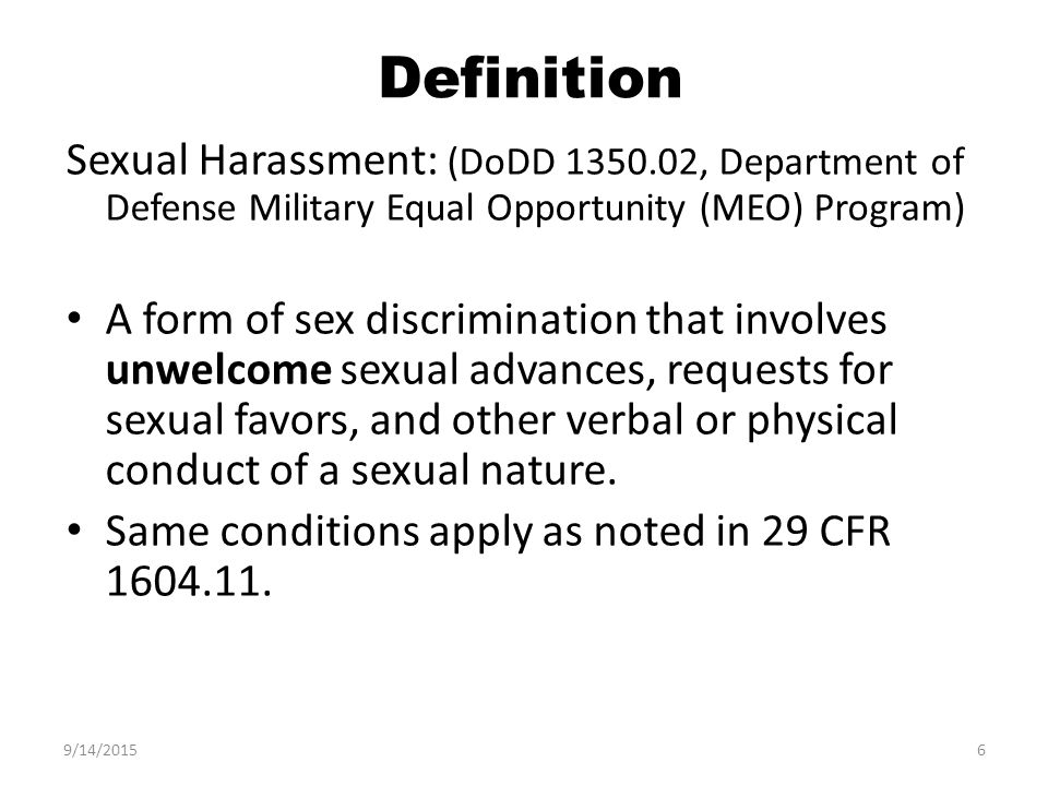 Conditions of sexual harassment