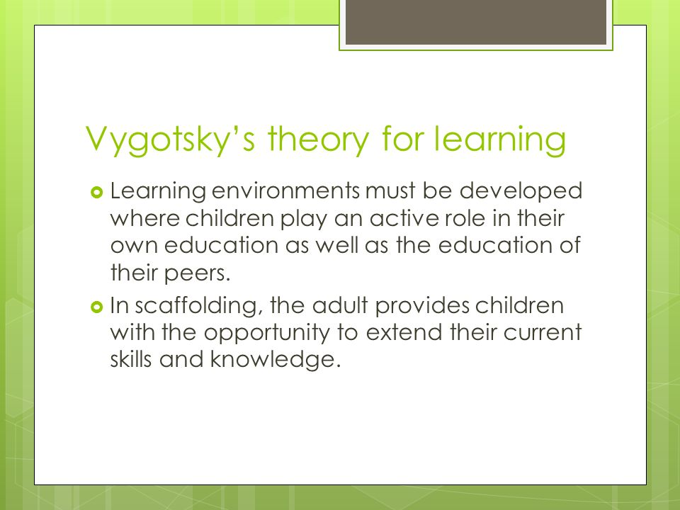 lee vygotskys theory of learning Besides showing that activity theory transforms how research should proceed regarding language, language learning, and literacy in particular, the authors demonstrate how it is a theory for praxis, thereby offering the potential to overcome some of the most profound problems that have plagued both educational theorizing and practice.