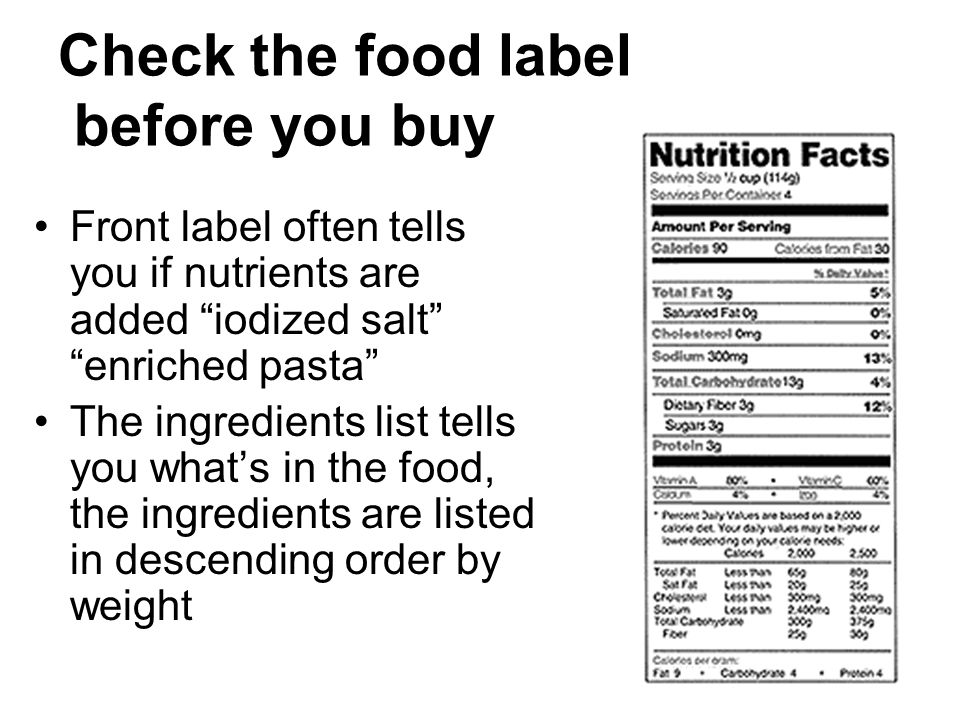 Check the food label before you buy