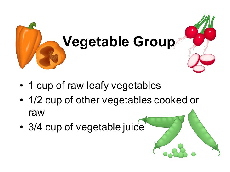 Vegetable Group 1 cup of raw leafy vegetables