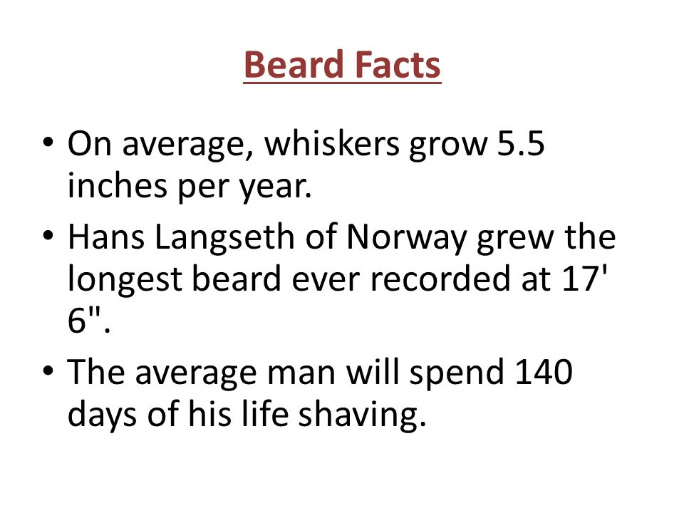 Beard Facts On average, whiskers grow 5.5 inches per year.