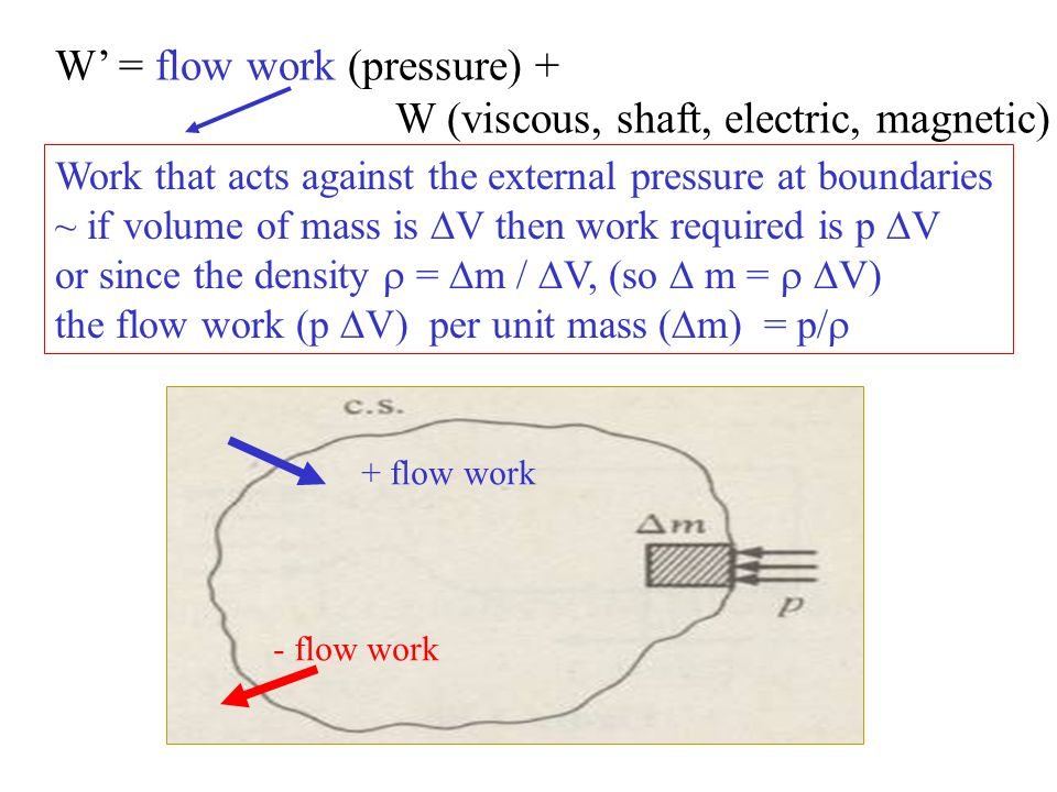W' = flow work (pressure) + W (viscous, shaft, electric, magnetic)