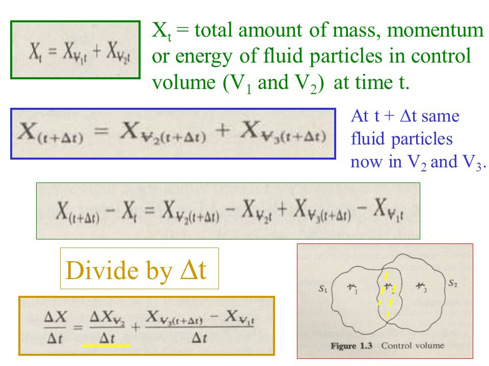 Divide by t Xt = total amount of mass, momentum