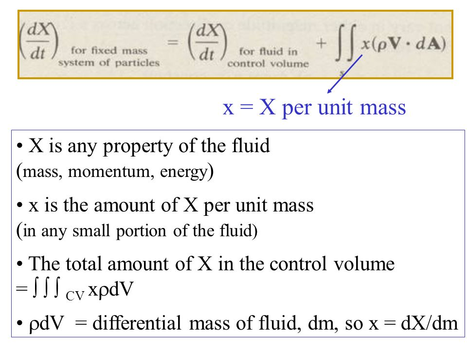 x = X per unit mass X is any property of the fluid