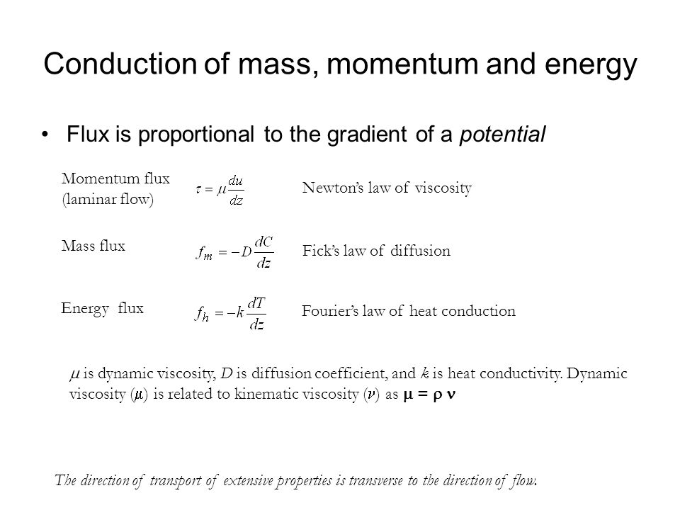 Conduction of mass, momentum and energy