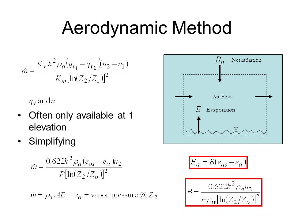 Aerodynamic Method Often only available at 1 elevation Simplifying