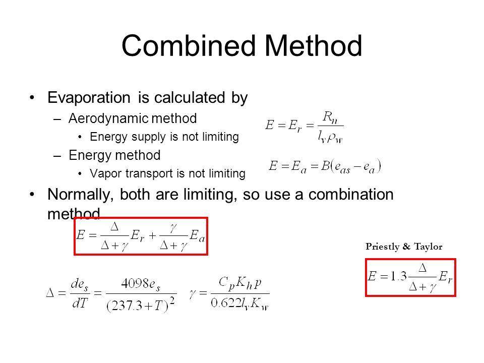 Combined Method Evaporation is calculated by