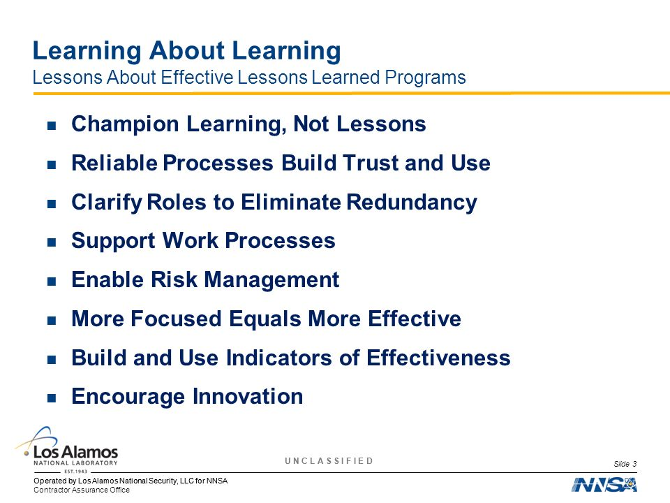 Learning About Learning Lessons About Effective Lessons Learned Programs