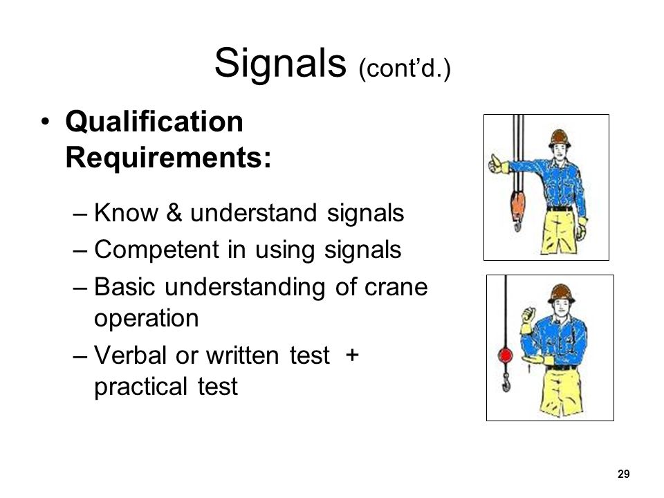 Signals (cont'd.) Qualification Requirements:
