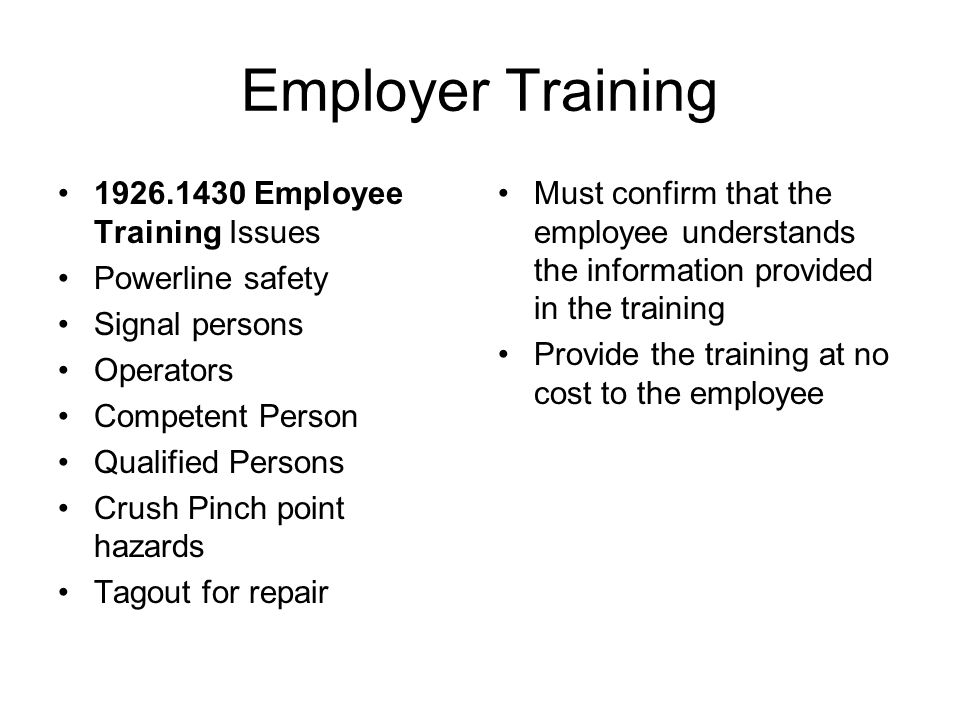 Employer Training 1926.1430 Employee Training Issues Powerline safety