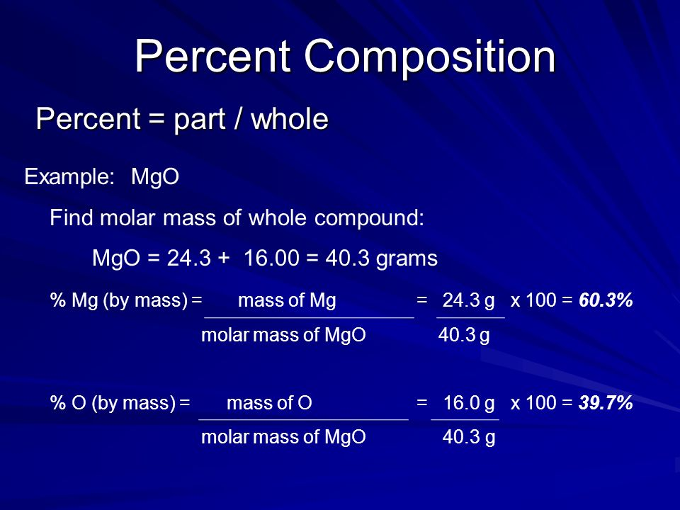 Percent Composition Percent = part / whole Example: MgO
