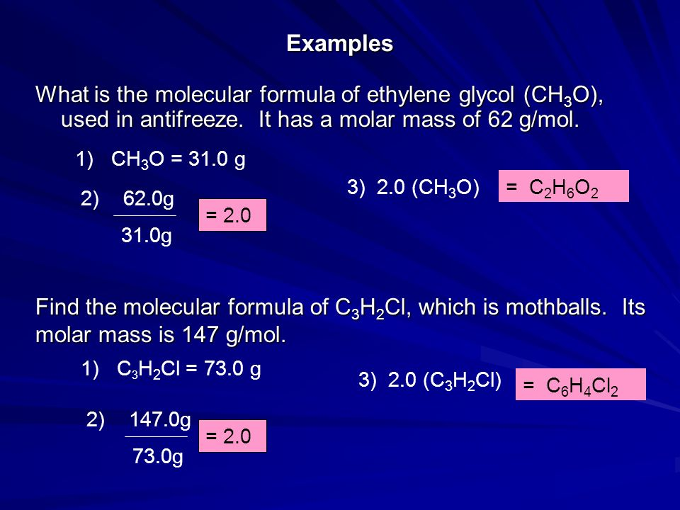 Examples What is the molecular formula of ethylene glycol (CH3O), used in antifreeze. It has a molar mass of 62 g/mol.