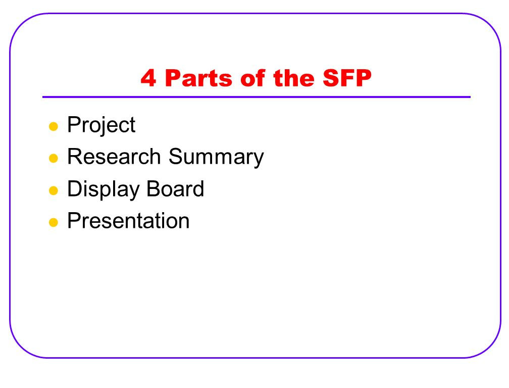 4 Parts of the SFP Project Research Summary Display Board Presentation