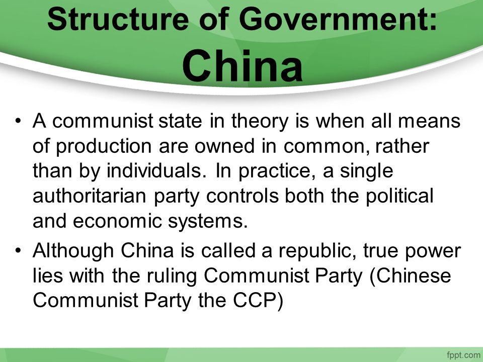 Structure of Government: China