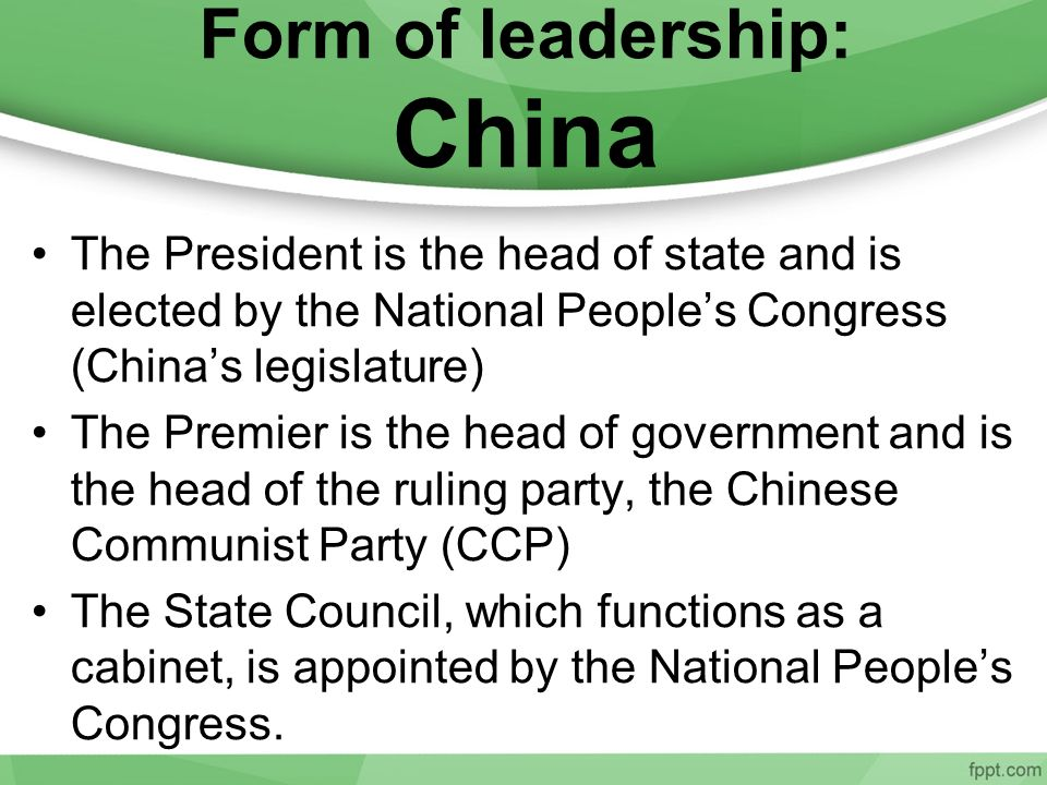 Form of leadership: China