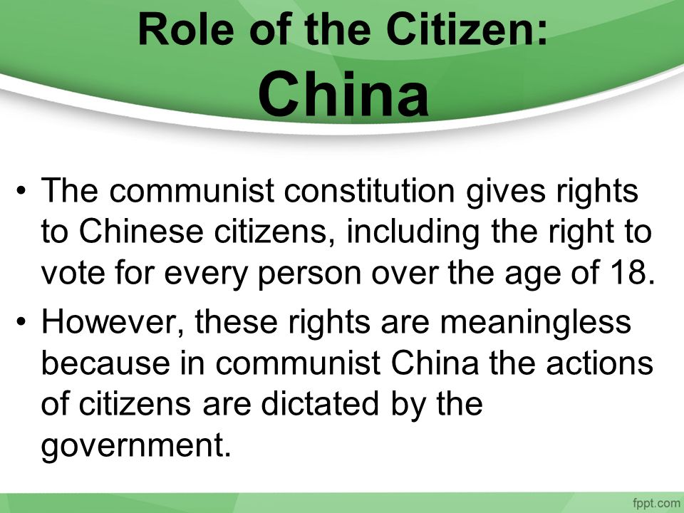 Role of the Citizen: China