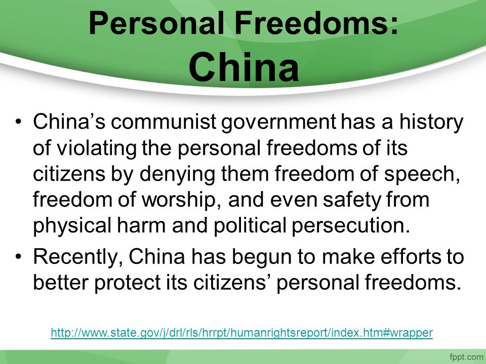 Personal Freedoms: China