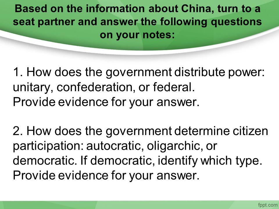 Based on the information about China, turn to a seat partner and answer the following questions on your notes: