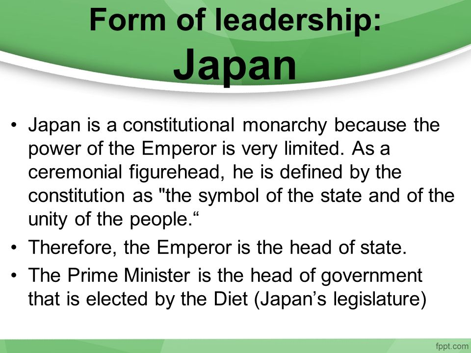 Form of leadership: Japan
