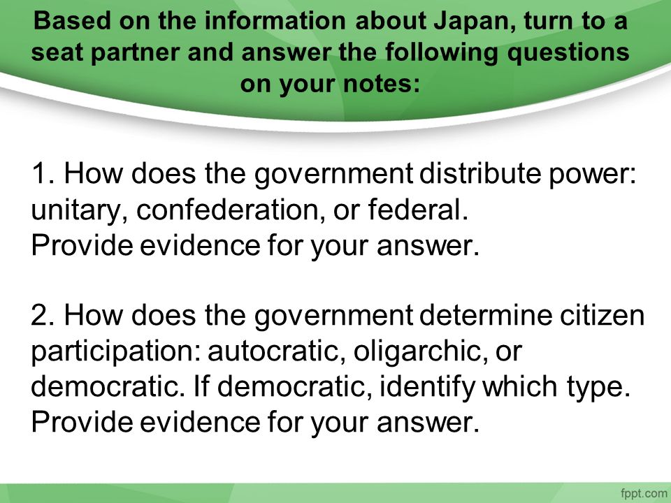 Based on the information about Japan, turn to a seat partner and answer the following questions on your notes: