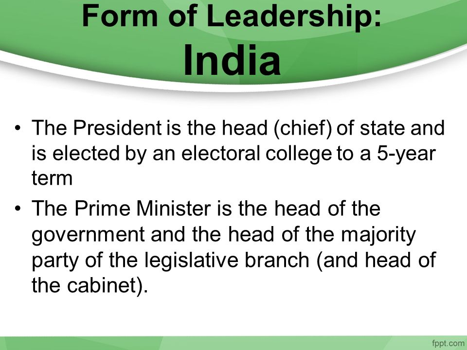 Form of Leadership: India