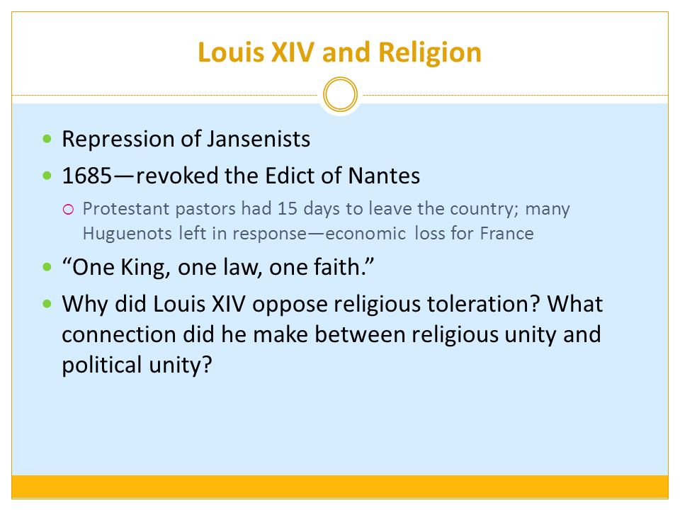 Louis XIV and Religion Repression of Jansenists