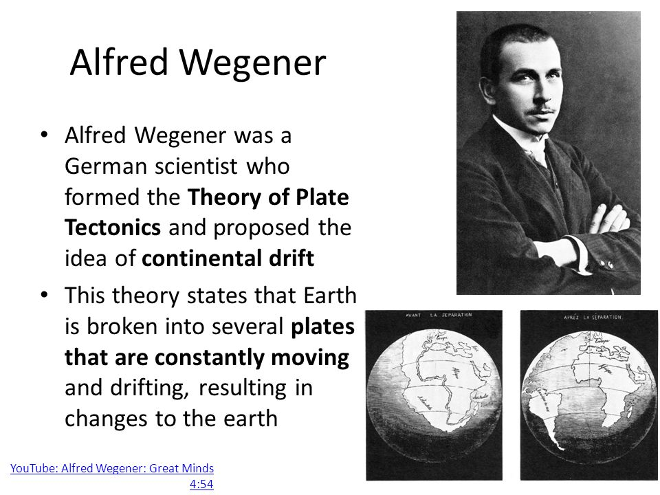 an overview of the plate tectonics theory by alfred wegener Theory about the earth, plate tectonics, alfred wegener sign up to view the rest of the essay.