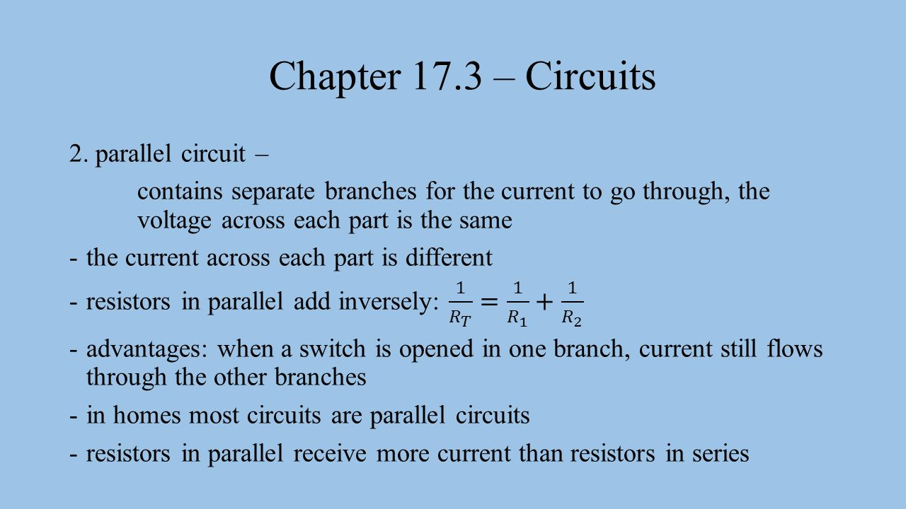 Some Parallel Circuits Have Switches In As The Circuit Shown Chapter 173 Electric A Set Of Electrical 2