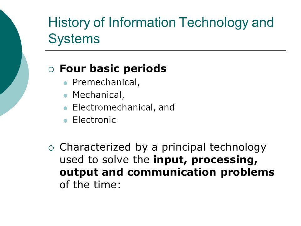History of Information Technology and Systems