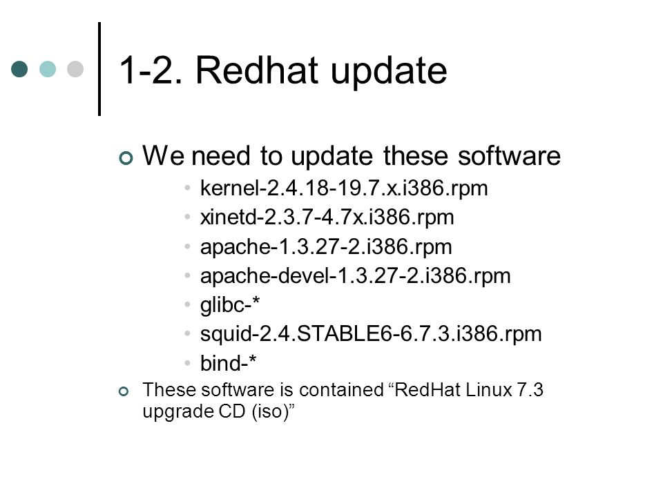 1-2. Redhat update We need to update these software